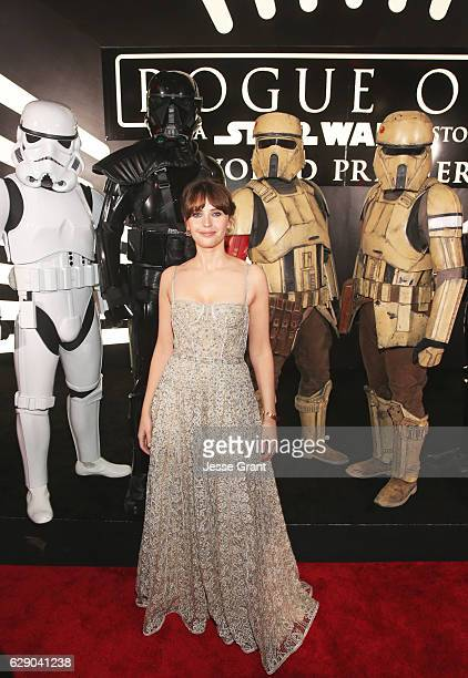 Actress Felicity Jones attends The World Premiere of Lucasfilm's highly anticipated firstever standalone Star Wars adventure 'Rogue One A Star Wars...