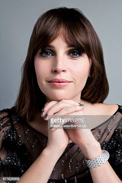 Actress Felicity Jones poses for a portrait at the 2016 AMD British Academy Britannia Awards presented by Jaguar Land Rover and American Airlines at...