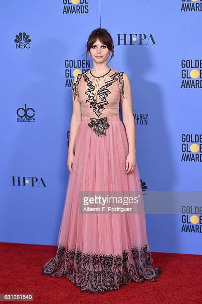 Actress Felicity Jones poses in the press room during the 74th Annual Golden Globe Awards at The Beverly Hilton Hotel on January 8 2017 in Beverly...