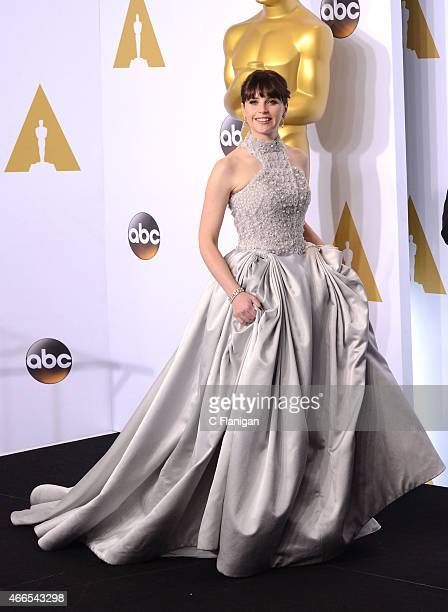 Actress Felicity Jones poses in the press room during the 87th Annual Academy Awards at Loews Hollywood Hotel on February 22 2015 in Hollywood...