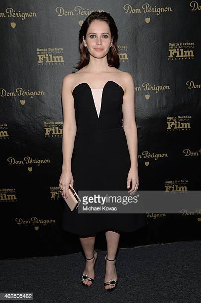Actress Felicity Jones visits the Dom Perignon Lounge after receiving the Cinema Vanguard Award at The Santa Barbara International Film Festival on...