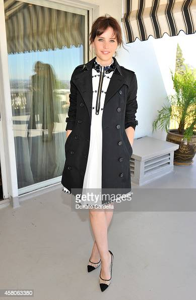 Actress Felicity Jones wearing Burberry at Eddie Redmayne Vanity Fair And Burberry Celebrate BAFTA Los Angeles and the Britannia Awards at Chateau...