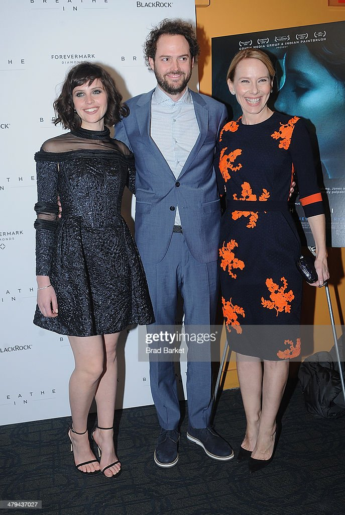 Actress <a gi-track='captionPersonalityLinkClicked' href=/galleries/search?phrase=Felicity+Jones&family=editorial&specificpeople=5128418 ng-click='$event.stopPropagation()'>Felicity Jones</a>, writer/director <a gi-track='captionPersonalityLinkClicked' href=/galleries/search?phrase=Drake+Doremus&family=editorial&specificpeople=5669779 ng-click='$event.stopPropagation()'>Drake Doremus</a> and actress <a gi-track='captionPersonalityLinkClicked' href=/galleries/search?phrase=Amy+Ryan&family=editorial&specificpeople=227236 ng-click='$event.stopPropagation()'>Amy Ryan</a> attend the 'Breathe In' premiere at Sunshine Landmark on March 18, 2014 in New York City.
