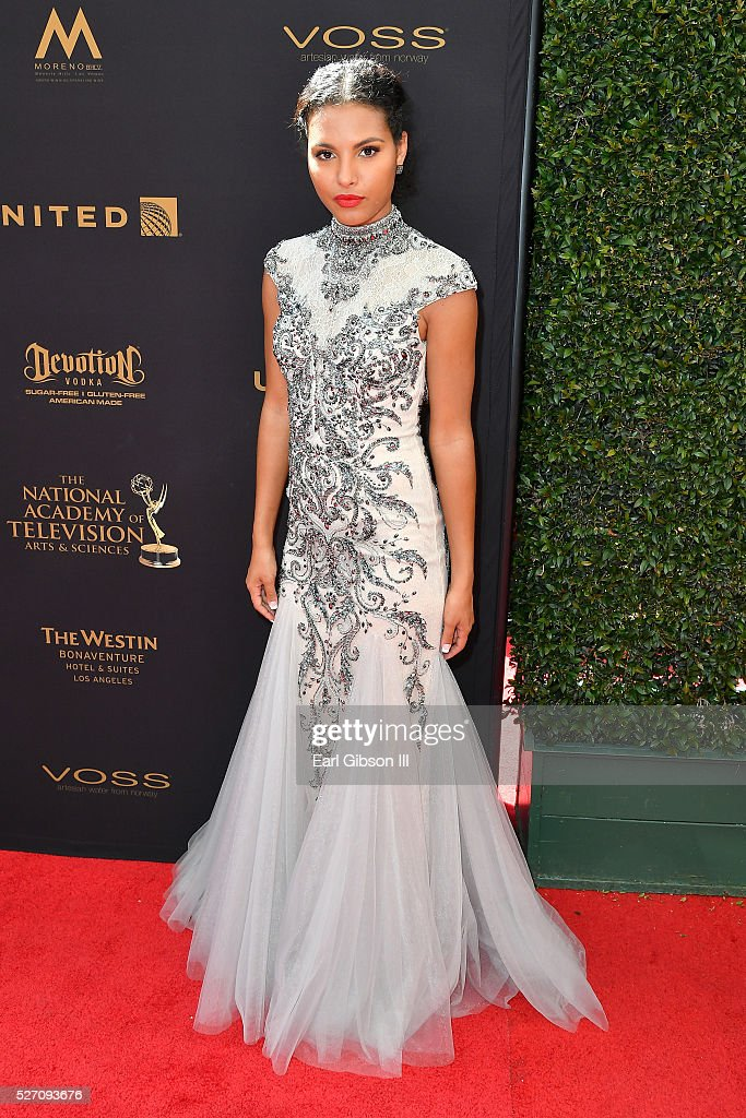 Actress Felisha Cooper walks the red carpet at the 43rd Annual Daytime Emmy Awards at the Westin Bonaventure Hotel on May 1, 2016 in Los Angeles, California.