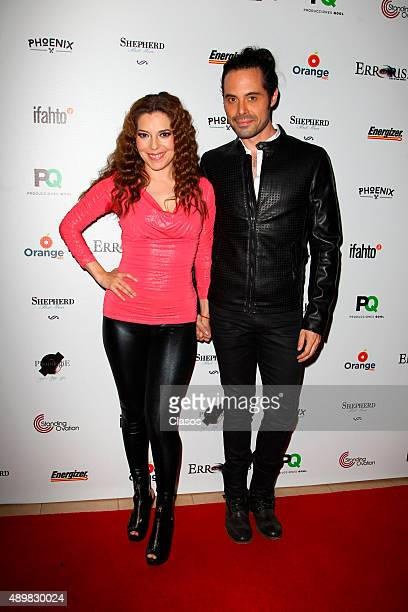 Actress Fernanda Ostos and actor Enrique del Olmo pose for pictures during the red carpet of the Pxndx band musical ErrorisEs at Rafael Solana...