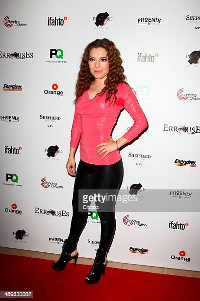 Actress Fernanda Ostos poses for pictures during the red carpet of the Pxndx band musical ErrorisEs at Rafael Solana Theatre on Seoptember 25 2015 in...
