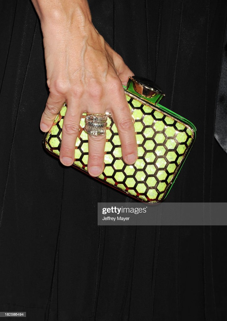 Actress <a gi-track='captionPersonalityLinkClicked' href=/galleries/search?phrase=Finola+Hughes&family=editorial&specificpeople=206161 ng-click='$event.stopPropagation()'>Finola Hughes</a> (handbag, ring detail) at the Los Angeles premiere of 'Captain Phillips' at the Academy of Motion Picture Arts and Sciences on September 30, 2013 in Beverly Hills, California.