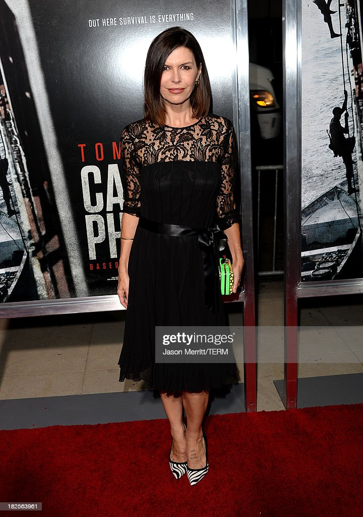 Actress Finola Hughes attends the premiere of Columbia Pictures' 'Captain Phillips' at the Academy of Motion Picture Arts and Sciences on September 30, 2013 in Beverly Hills, California.