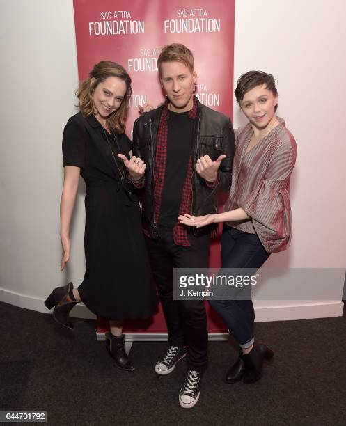 Actress Fiona Dourif director Dustin Lance Black and actress Emily Skeggs attend the SAGAFTRA Foundation Conversations 'When We Rise' at SAGAFTRA...