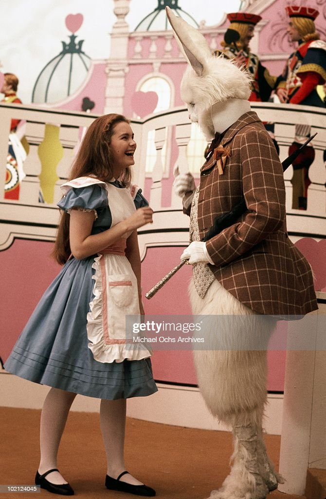 Actress Fiona Fullerton and actor and singer Michael Crawford in a scene from the movie 'Alice's Adventures In Wonderland' in June 1972 in Shepperton, England.