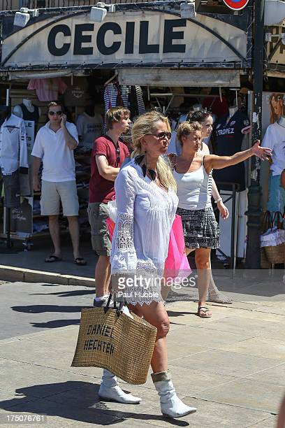 Actress Fiona Gelin is spotted on the harbour of Saint Tropez on July 30 2013 in SaintTropez France