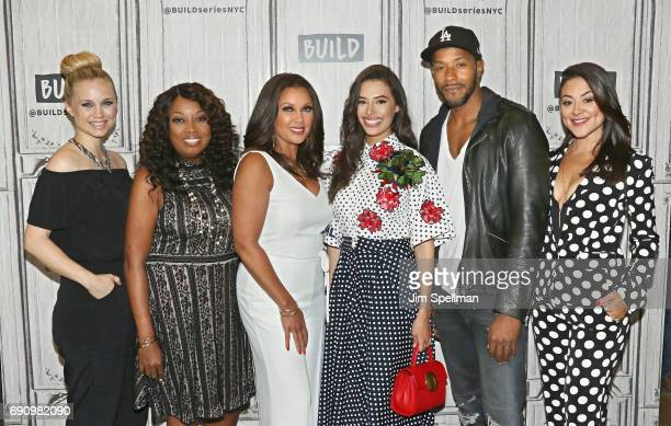 Actress Fiona Gubelmann series creator Star Jones actors Vanessa Williams Chloe Bridges McKinley Freeman and Camille Guaty attend Build to discuss...