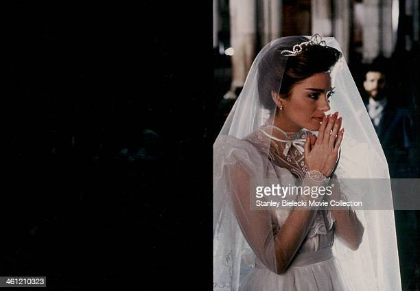 Actress Fiona Hutchison wearing a wedding dress in a scene from the movie 'Biggles Adventures in Time' 1986