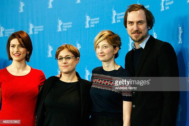 Actress Flonja Kodheli director Laura Bispuri Alba Rohrwacher and Lars Eidinge attend the 'Sworn Virgin' photocall during the 65th Berlinale...