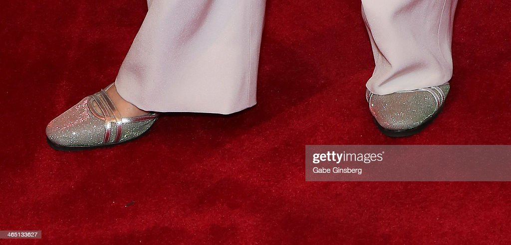 Actress <a gi-track='captionPersonalityLinkClicked' href=/galleries/search?phrase=Florence+Henderson&family=editorial&specificpeople=171392 ng-click='$event.stopPropagation()'>Florence Henderson</a> (shoes detail) arrives at Nevada Ballet Theatre presents 'The Black & White Ball's 30th Anniversary' at the Aria Resort & Casino at CityCenter on January 25, 2014 in Las Vegas, Nevada.