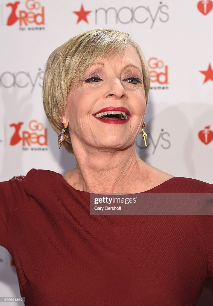 Actress <a gi-track='captionPersonalityLinkClicked' href=/galleries/search?phrase=Florence+Henderson&family=editorial&specificpeople=171392 ng-click='$event.stopPropagation()'>Florence Henderson</a> attends The American Heart Association's Go Red for Women Dress Collection 2016 at Skylight at Moynihan Station on February 11, 2016 in New York City.