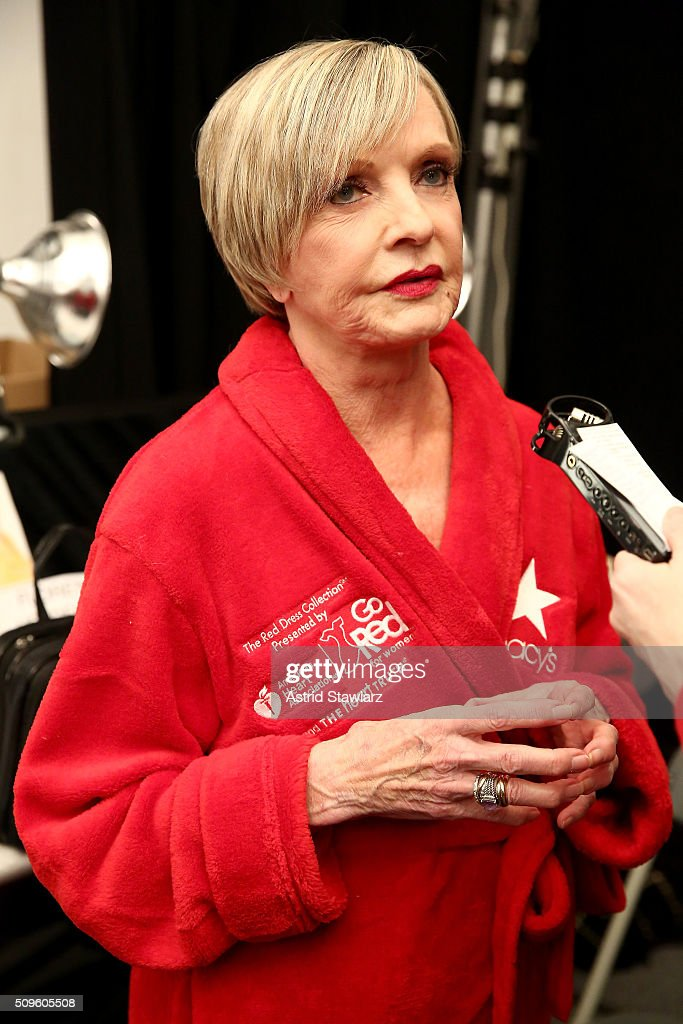 Actress <a gi-track='captionPersonalityLinkClicked' href=/galleries/search?phrase=Florence+Henderson&family=editorial&specificpeople=171392 ng-click='$event.stopPropagation()'>Florence Henderson</a> prepares backstage at The American Heart Association's Go Red For Women Red Dress Collection 2016 Presented By Macy's at The Arc, Skylight at Moynihan Station on February 11, 2016 in New York City.