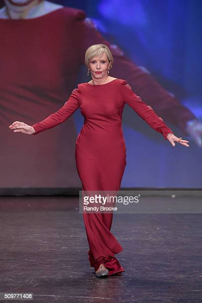 Actress Florence Henderson wearing Pamella Roland walks the runway at The American Heart Association's Go Red For Women Red Dress Collection 2016...