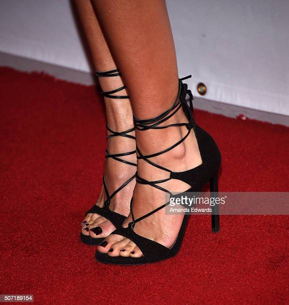 Actress Floriana Lima shoe detail arrives at the LA Art Show and Los Angeles Fine Art Show's 2016 Opening Night Premiere Party benefiting St Jude...
