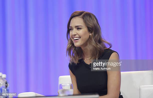 Actress Founder and Chief Creative Officer of The Honest Company Jessica Alba speaks on stage during Pennsylvania Conference For Women at...
