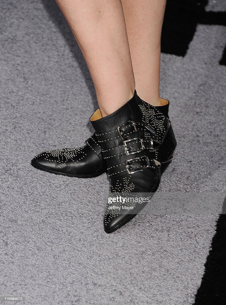 Actress <a gi-track='captionPersonalityLinkClicked' href=/galleries/search?phrase=Fran+Drescher&family=editorial&specificpeople=201602 ng-click='$event.stopPropagation()'>Fran Drescher</a> (shoe detail) at the Los Angeles premiere of 'Star Trek: Into Darkness' at Dolby Theatre on May 14, 2013 in Hollywood, California.