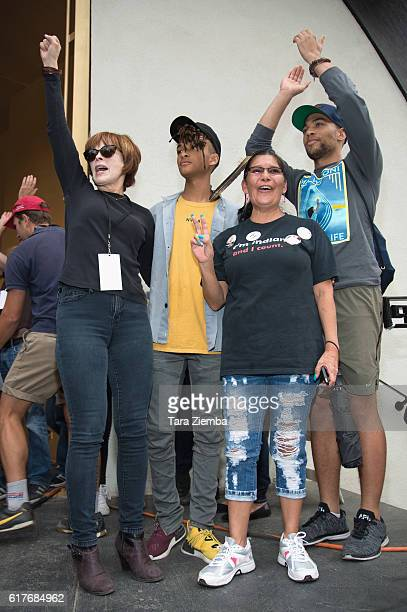 Actress Frances Fisher actor Jaden Smith guest and actor Kendrick Sampson attend the Climate Revolution rally at Levitt Pavilion MacArthur Park on...