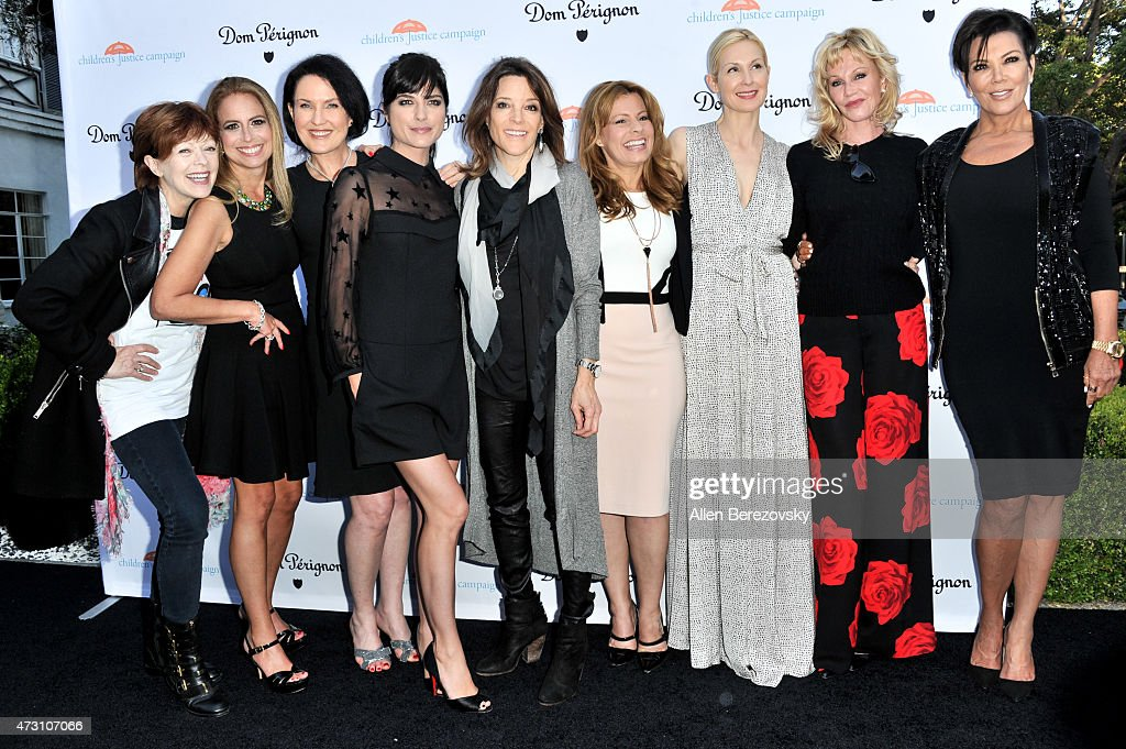 Actress Frances Fisher, Doctor Jen Trachtenberg, guest, actress Selma Blair, author Marianne Williamson, guest, actors Kelly Rutherford and Melanie Griifith and TV personality Kris Jenner attend Children's Justice Campaign Event on May 12, 2015 in Beverly Hills, California.