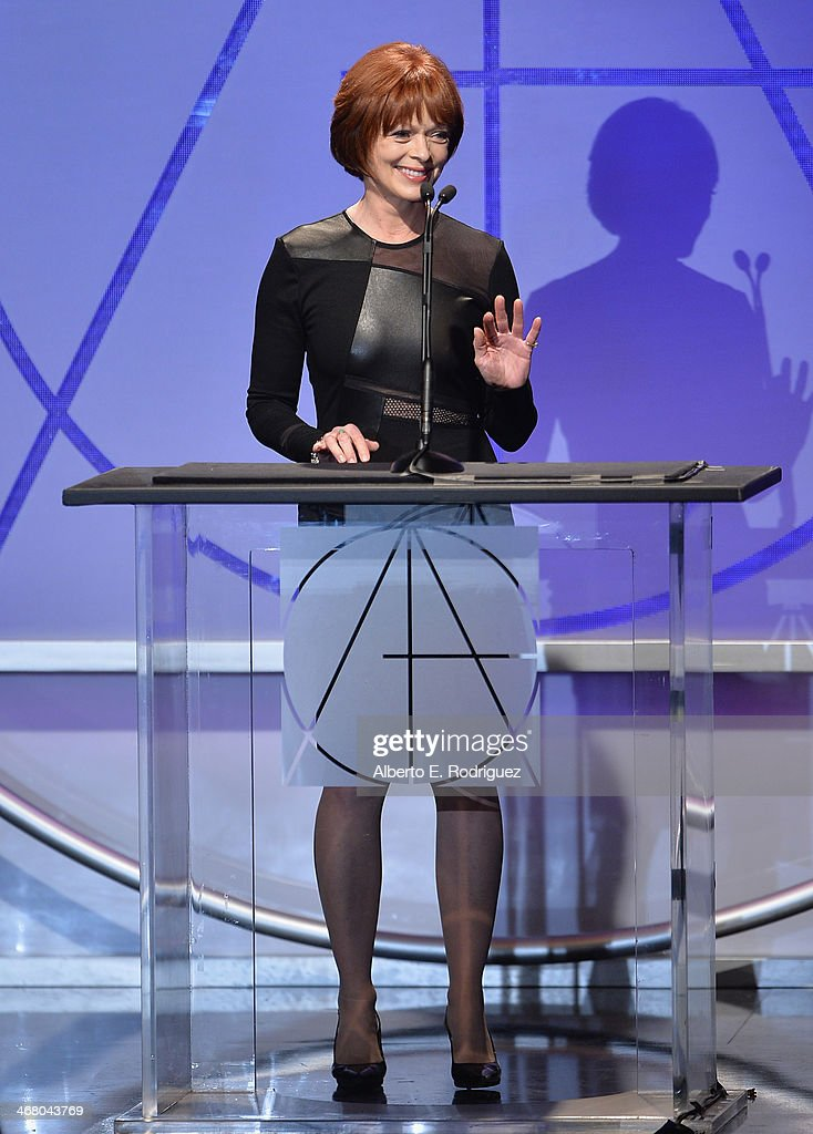 Actress <a gi-track='captionPersonalityLinkClicked' href=/galleries/search?phrase=Frances+Fisher&family=editorial&specificpeople=211520 ng-click='$event.stopPropagation()'>Frances Fisher</a> speaks on stage atthe 18th Annual Art Directors Guild Exellence In Production Design Awards at The Beverly Hilton Hotel on February 8, 2014 in Beverly Hills, California.