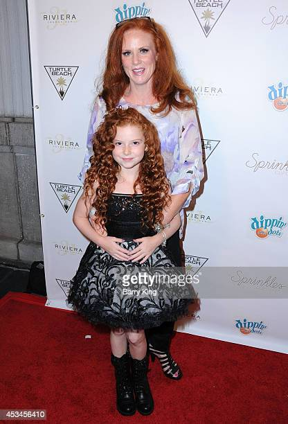 Actress Francesca Capaldi and her mom arrive at Blake Michael's 18th Birthday on Riviera 31 on August 9 2014 in Beverly Hills California