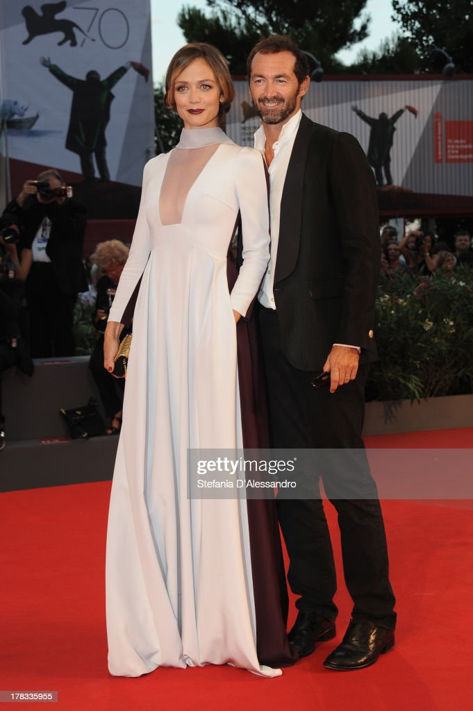 Actress Francesca Cavallin and Stefano Remigi attend the 'Tracks' Premiere during the 70th Venice International Film Festival at Sala Grande on August 29, 2013 in Venice, Italy.