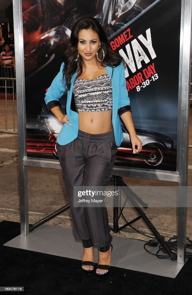 Actress Francia Raisa arrives at the 'Getaway' Los Angeles Premiere at Regency Village Theatre on August 26 2013 in Westwood California
