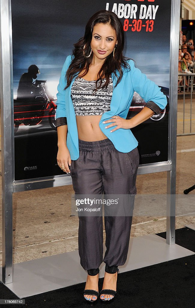 Actress Francia Raisa arrives at the Los Angeles Premiere 'Getaway' at Regency Village Theatre on August 26 2013 in Westwood California