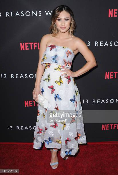 Actress Francia Raisa arrives at the Los Angeles Premiere of Netflix's '13 Reasons Why' at Paramount Pictures on March 30 2017 in Los Angeles...