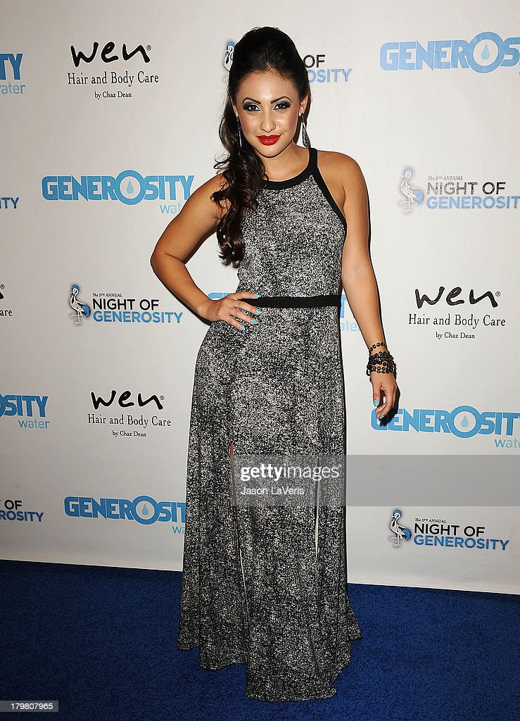 Actress <a gi-track='captionPersonalityLinkClicked' href=/galleries/search?phrase=Francia+Raisa&family=editorial&specificpeople=4441372 ng-click='$event.stopPropagation()'>Francia Raisa</a> attends Generosity Water's 5th annual Night of Generosity benefit at Beverly Hills Hotel on September 6, 2013 in Beverly Hills, California.