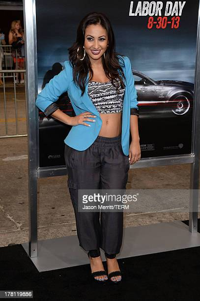 Actress Francia Raisa attends the premiere of 'Getaway' presented by Warner Bros Pictures at Regency Village Theatre on August 26 2013 in Westwood...
