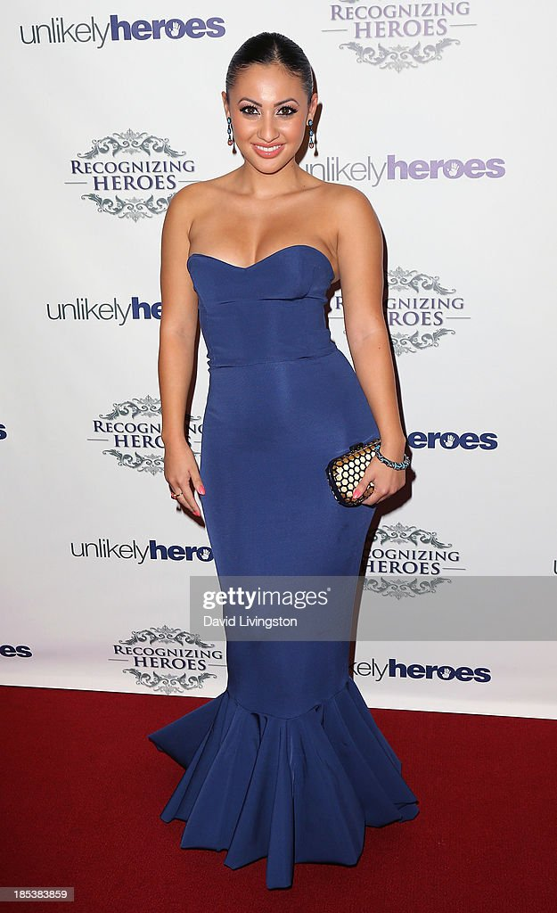 Actress Francia Raisa attends the Unlikely Heroes' Recognizing Heroes Awards Dinner Gala at The Living Room at The W Hotel on October 19 2013 in Los...
