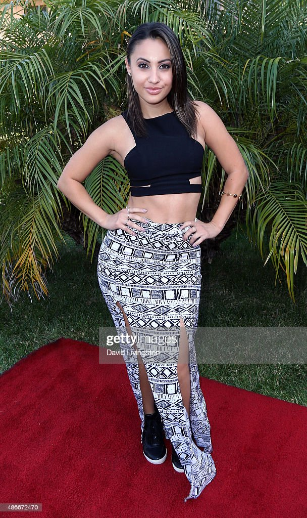 Actress Francia Raisa attends the World's Largest Pizza Festival at a private estate on September 4 2015 in Beverly Hills California
