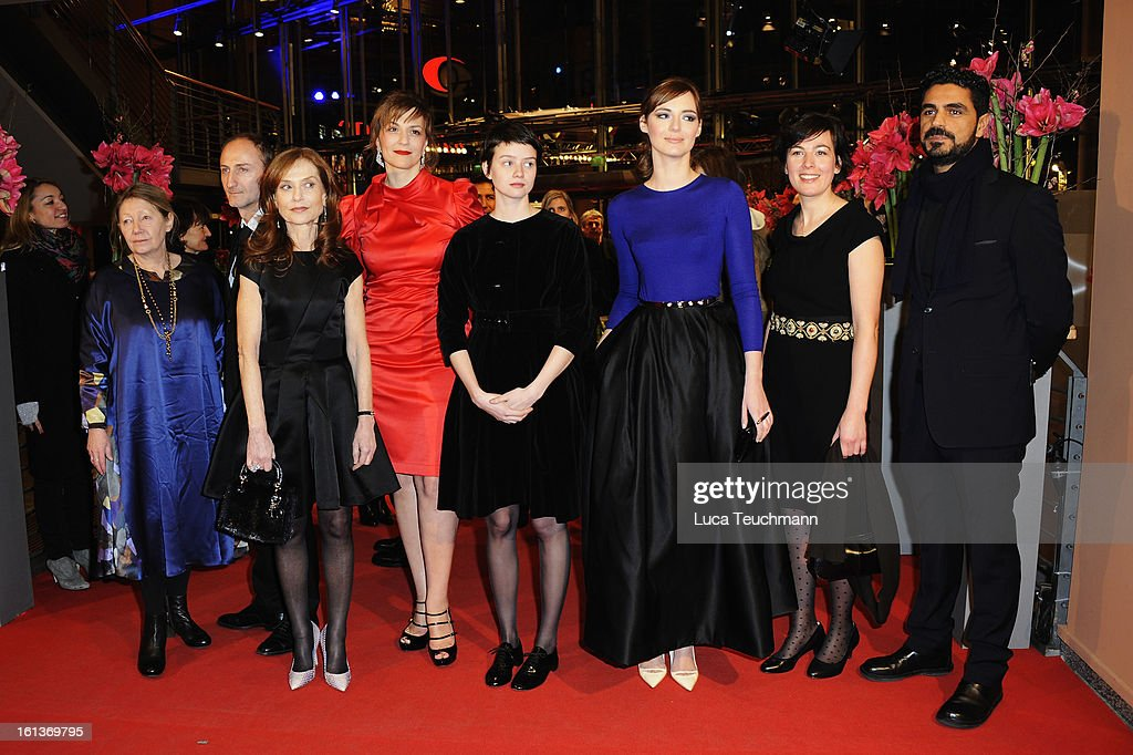 Actress Francoise Lebrun, director Guillaume Nicloux and actresses <a gi-track='captionPersonalityLinkClicked' href=/galleries/search?phrase=Isabelle+Huppert&family=editorial&specificpeople=662796 ng-click='$event.stopPropagation()'>Isabelle Huppert</a>, <a gi-track='captionPersonalityLinkClicked' href=/galleries/search?phrase=Martina+Gedeck&family=editorial&specificpeople=621042 ng-click='$event.stopPropagation()'>Martina Gedeck</a>, Pauline Etienne and <a gi-track='captionPersonalityLinkClicked' href=/galleries/search?phrase=Louise+Bourgoin&family=editorial&specificpeople=4383765 ng-click='$event.stopPropagation()'>Louise Bourgoin</a> attend 'The Nun' Premiere during the 63rd Berlinale International Film Festival at Berlinale Palast on February 10, 2013 in Berlin, Germany.