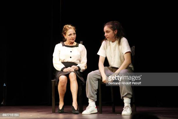 Actress Francoise O'Mera and Solenn Mazon perform an extract of the Theaterplay 'La Tete Haute' during 'L'Entree Des Artistes' Theater School by...