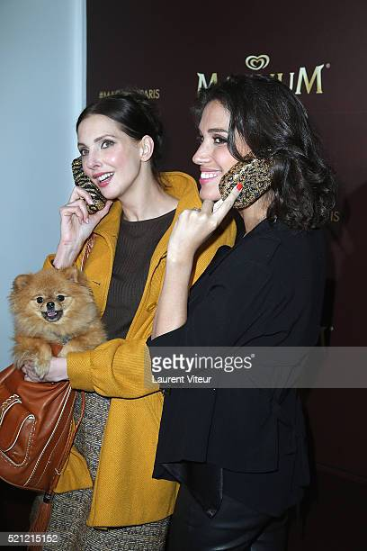 Actress Frederique Bel and TV Presenter Laurie Cholewa attend the Magnum Paris Concept Store Opening on April 14 2016 in Paris France