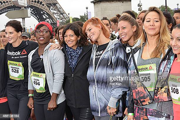 Actress Frederique Bel comedian Claudia Tagbo mayor of Paris Anne Hidalgo Fauve Hautot Silvia Notargiacomo and Tv presenter Stephanie Loire attend...
