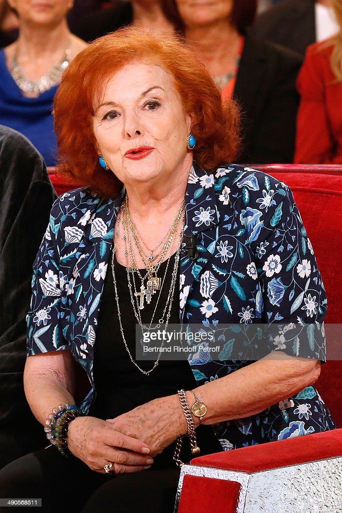 Actress Frederique Hebrard presents the book 'La Demoiselle d'Avignon est de retour' at the 'Vivement Dimanche' French TV show at Pavillon Gabriel on May 14, 2014 in Paris, France.