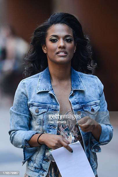 Actress Freema Agyeman enters her trailer at the 'Carrie Diaries' movie set in Midtown Manhattan on August 15 2013 in New York City