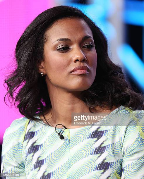 Actress Freema Agyeman of the television show 'The Carrie Diaries' speaks during the CW Network portion of the 2013 Winter Television Critics...