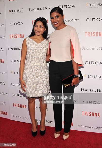 Actress Freida Pinto and designer Rachel Roy attend The Cinema Society With Rachel Roy Circa Host A Screening Of 'Trishna' at IFC Center on July 10...