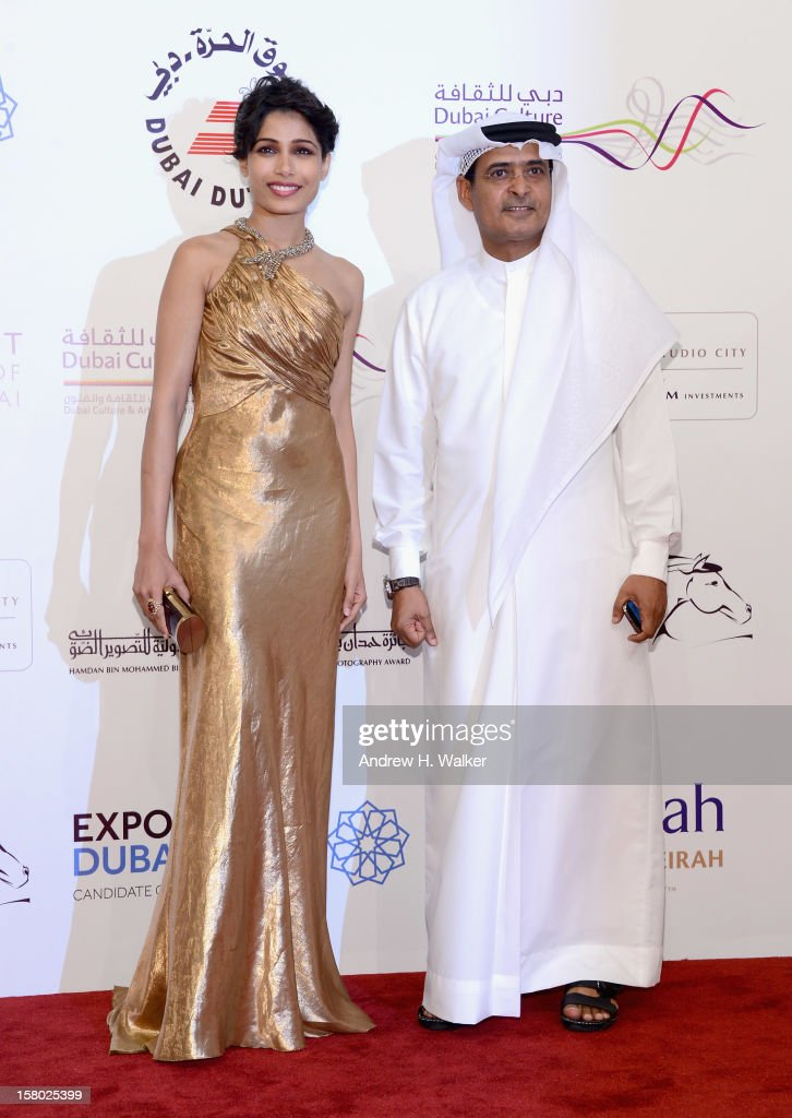 Actress Freida Pinto and DIFF Chairman Abdulhamid Juma attend the 'Life of PI' Opening Gala during day one of the 9th Annual Dubai International Film Festival held at the Madinat Jumeriah Complex on December 9, 2012 in Dubai, United Arab Emirates.