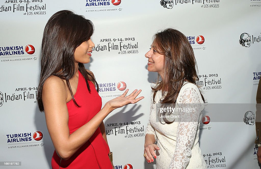 Actress Freida Pinto and IFFLA Founder Christina Marouda attend the Indian Film Festival of Los Angeles (IFFLA) Opening Night Gala for 'Gangs Of Wasseypur' at ArcLight Cinemas on April 9, 2013 in Hollywood, California.