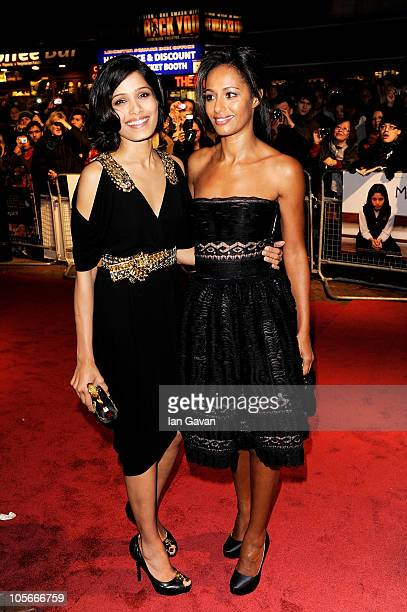 Actress Freida Pinto and writer Rula Jebreal attend the 'Miral' premiere during the 54th BFI London Film Festival at the Vue West End on October 18...