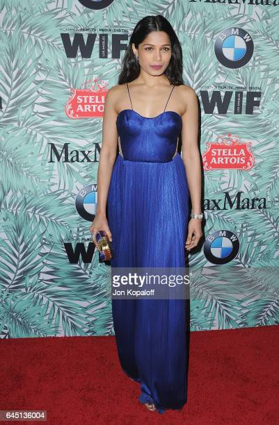 Actress Freida Pinto arrives at the 10th Annual Women In Film PreOscar Cocktail Party at Nightingale Plaza on February 24 2017 in Los Angeles...