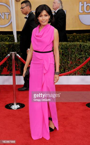 Actress Freida Pinto arrives at the 19th Annual Screen Actors Guild Awards at The Shrine Auditorium on January 27 2013 in Los Angeles California